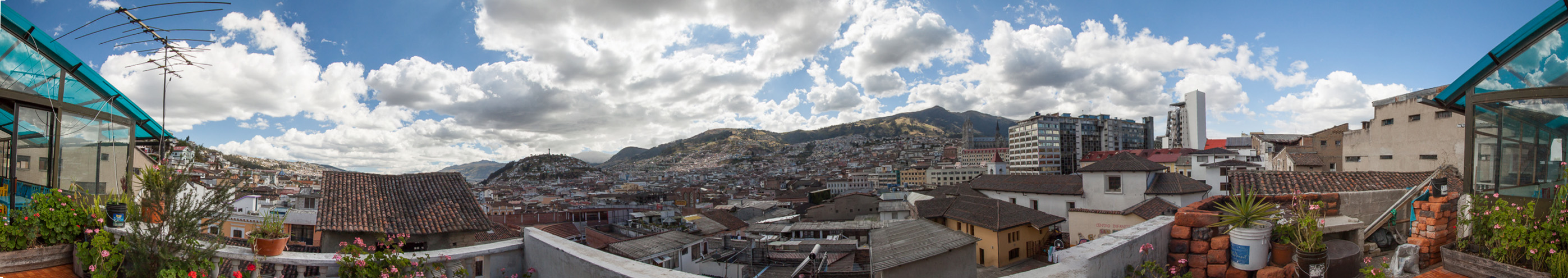 Quito skyline from our hostel rooftop terrace.