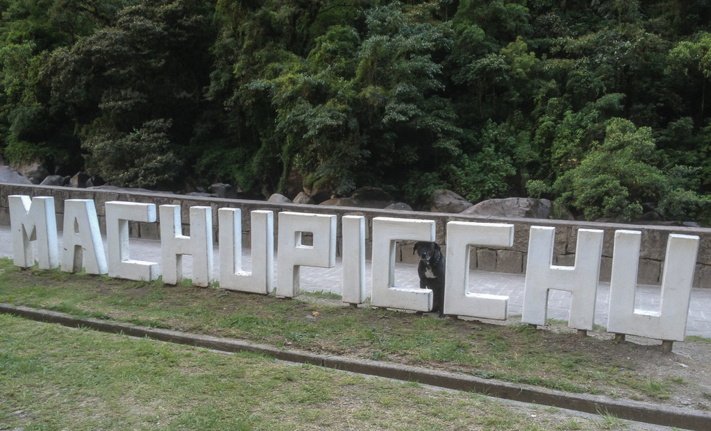 Hobie's trip to Machu Picchu consisted of sleeping in the hostel and posing behind this sign.