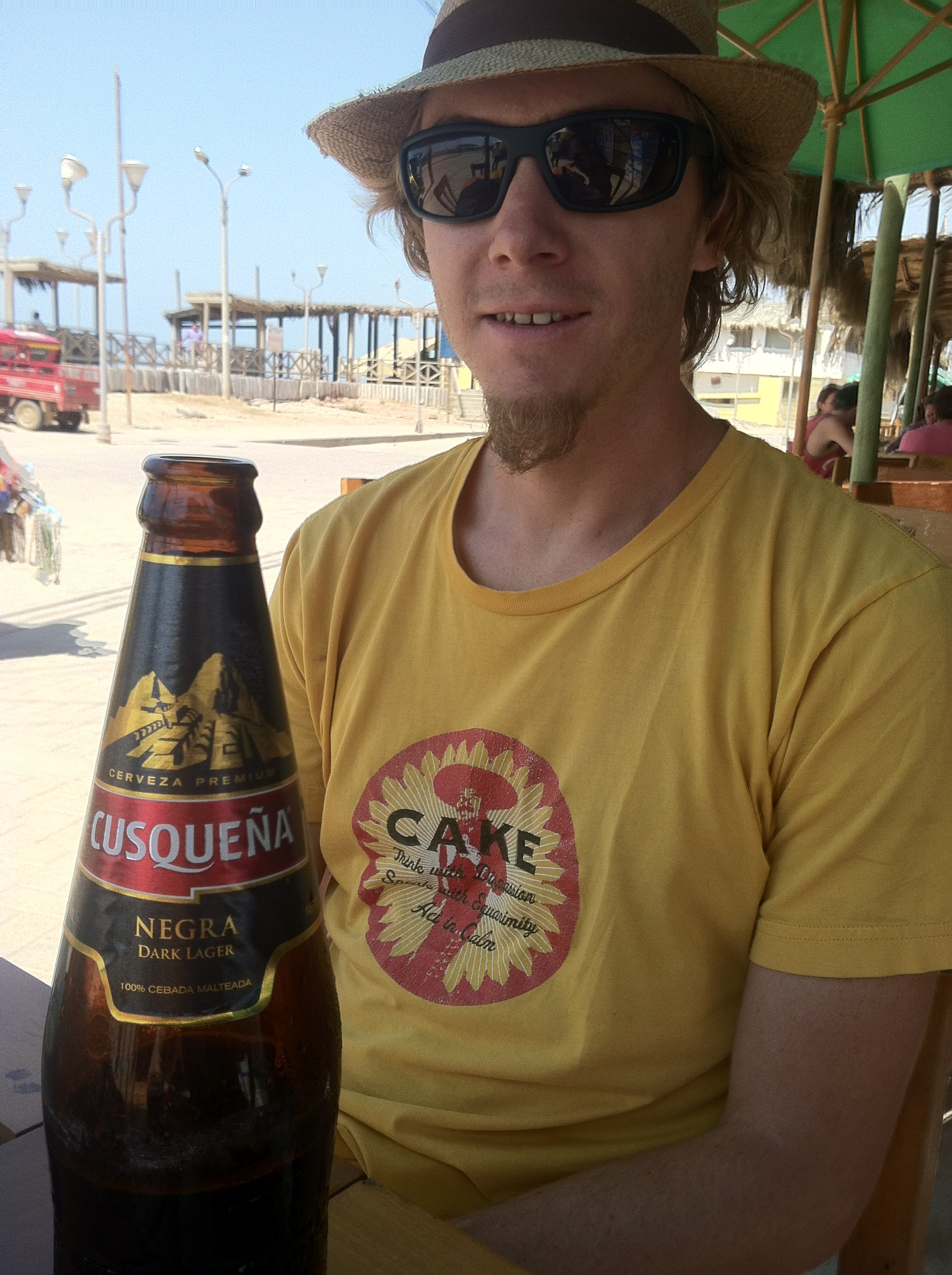 Enjoying our first Peruvian beer on the beach in Mancora.
