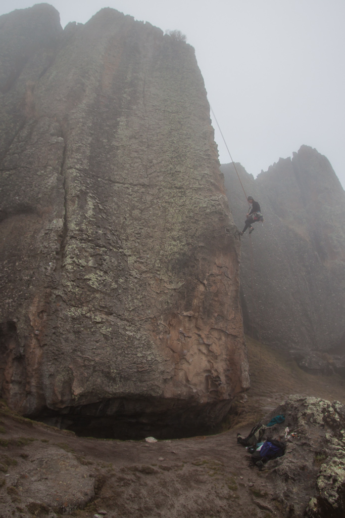 Emily cleaning a route in the afternoon fog.