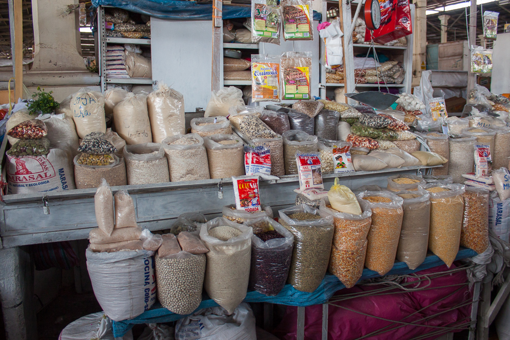 There was a huge selection of grains available in this little booth.