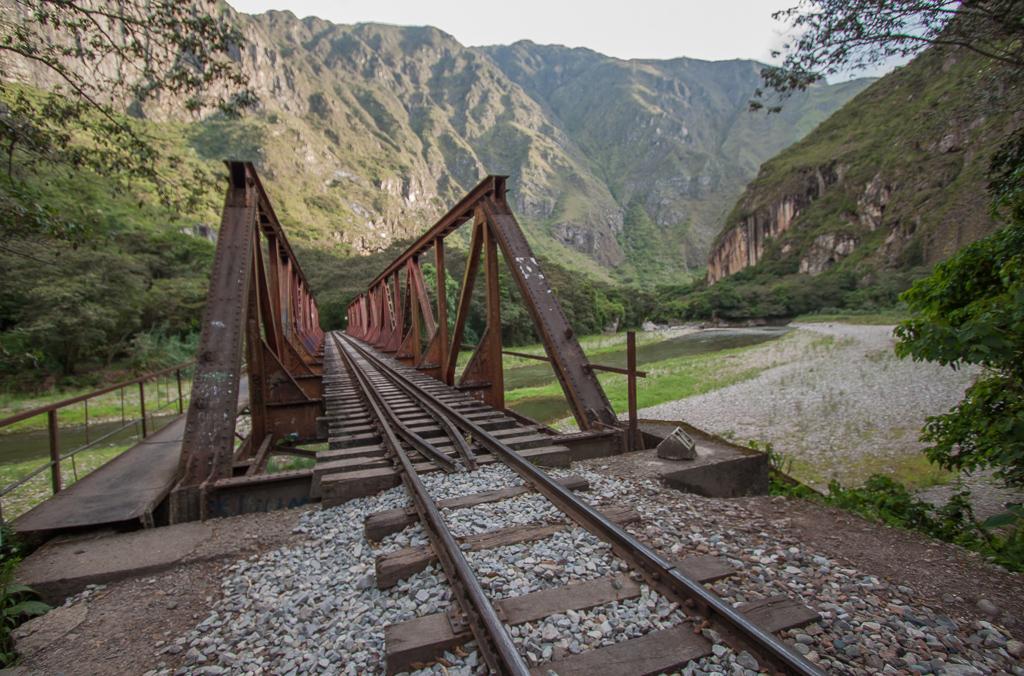 View down the train tracks.