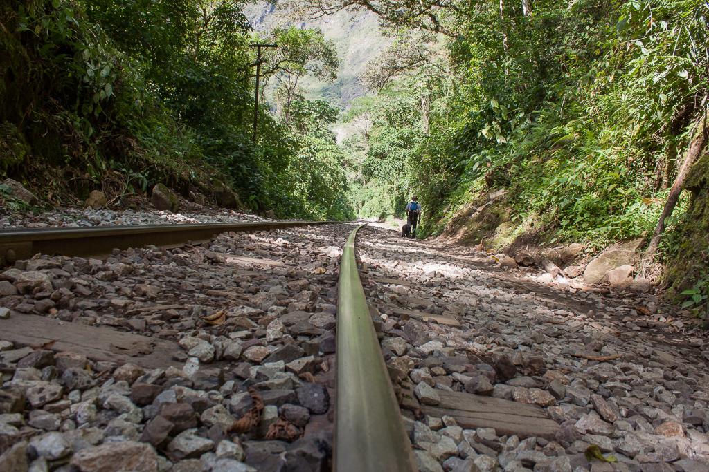 Walking the rail line.