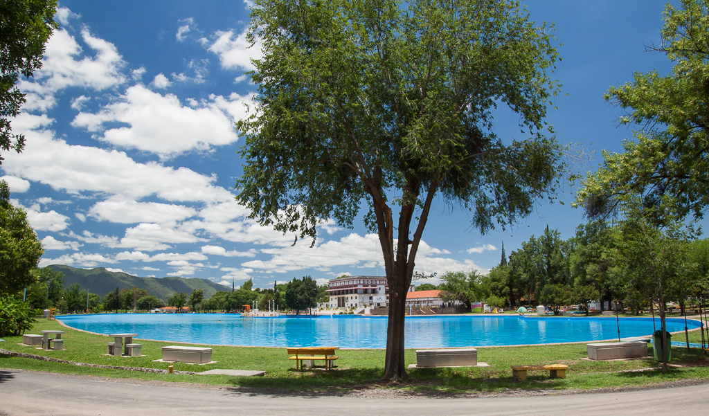The enormous lake of a pool at the Salta Municipal campground.