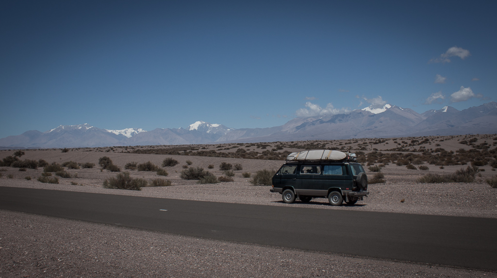 Taking in the Andes.