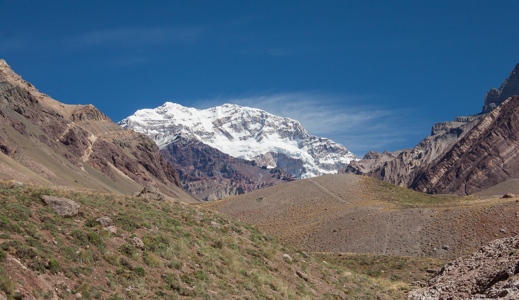 Roadside view of Aconcagua. At 6960.8 m (22,837 ft), this is the tallest peak outside of the Himalayas.