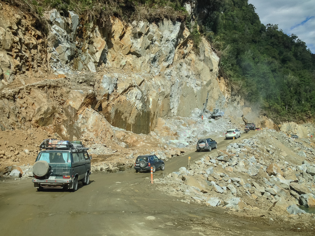 Crawling through a rough construction section of Carretera Austral. Photo credit: Corey Axtell.