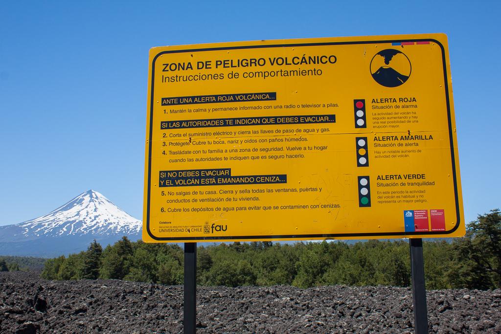 Volcán Llaima warning sign.