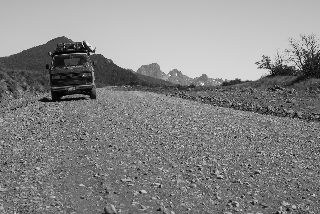 Chimera on another bumpy Patagonia road.