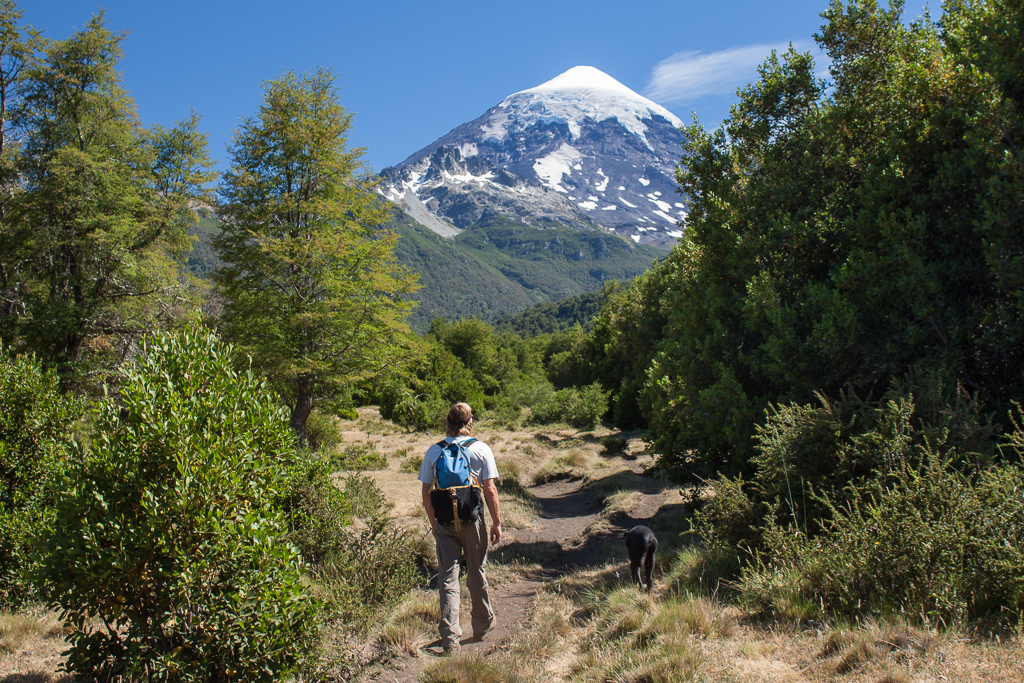 Hiking up to the base of Volcán Lanín.
