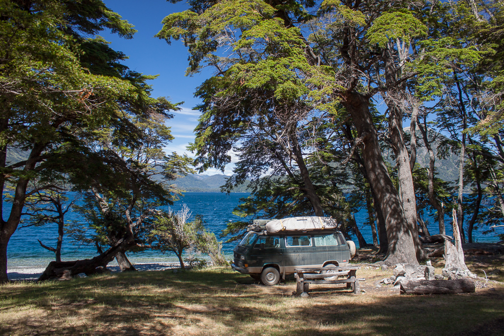 Another all-time favorite camp spot on the shore of Lago Huechulafquen.
