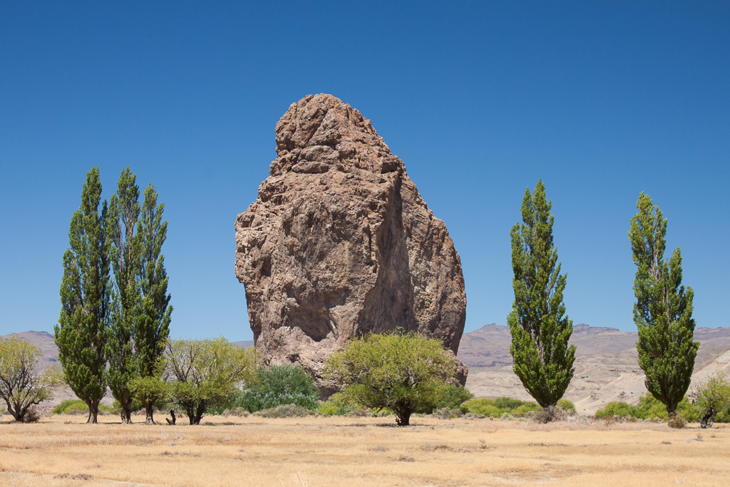 Piedra Parada, or Standing Rock. There are some routes up this monolith, but access is uncertain as it's a protected area.