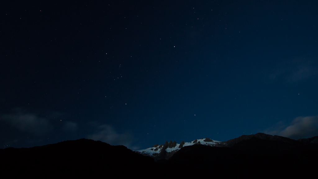 Orion over the glacier. Note that he is upside down.