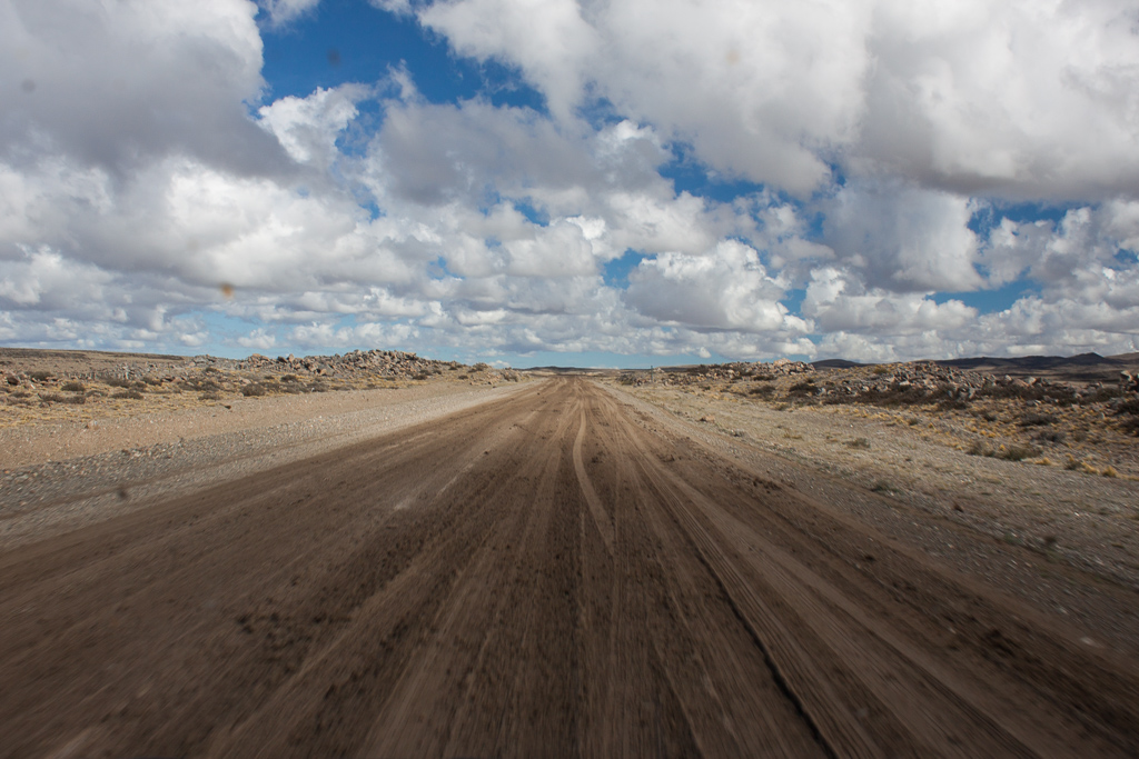 After a night of heavy rain this unpaved section of the Ruta 40 turned into a fun, muddy mess.