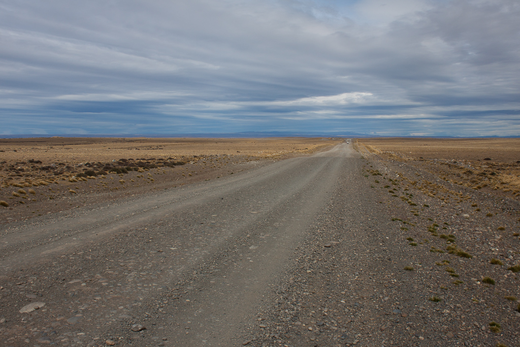One of the unpaved sections of the Ruta 40 through the pampas.