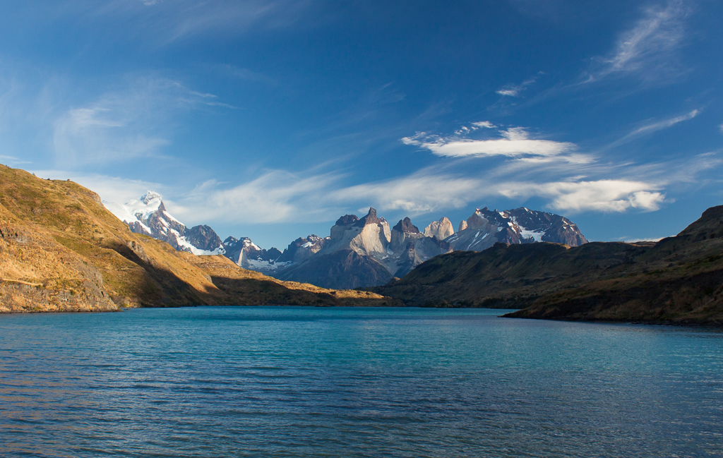 Torres del Paine on a perfect morning.