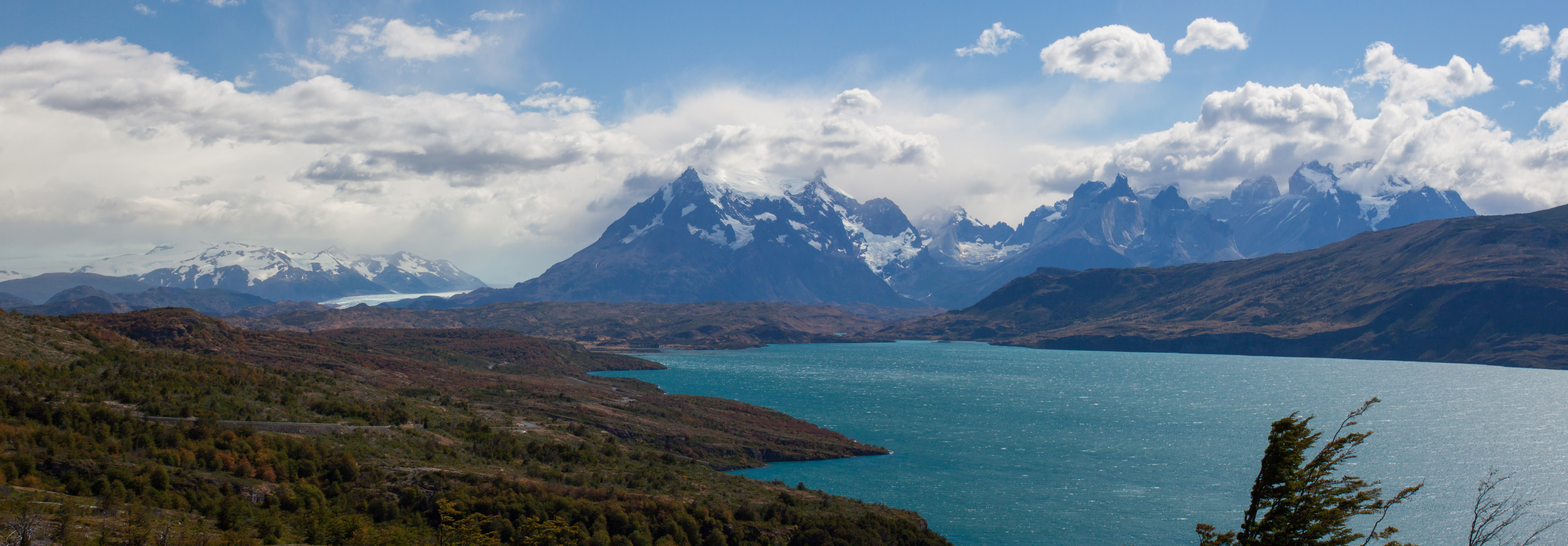Torres del Paine on a typical gale force windy day.