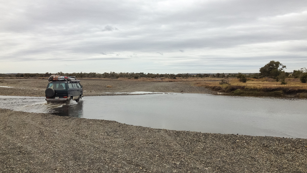 Crossing the border into Argentina involved driving across this shallow river. Photo by Corey Axtell.