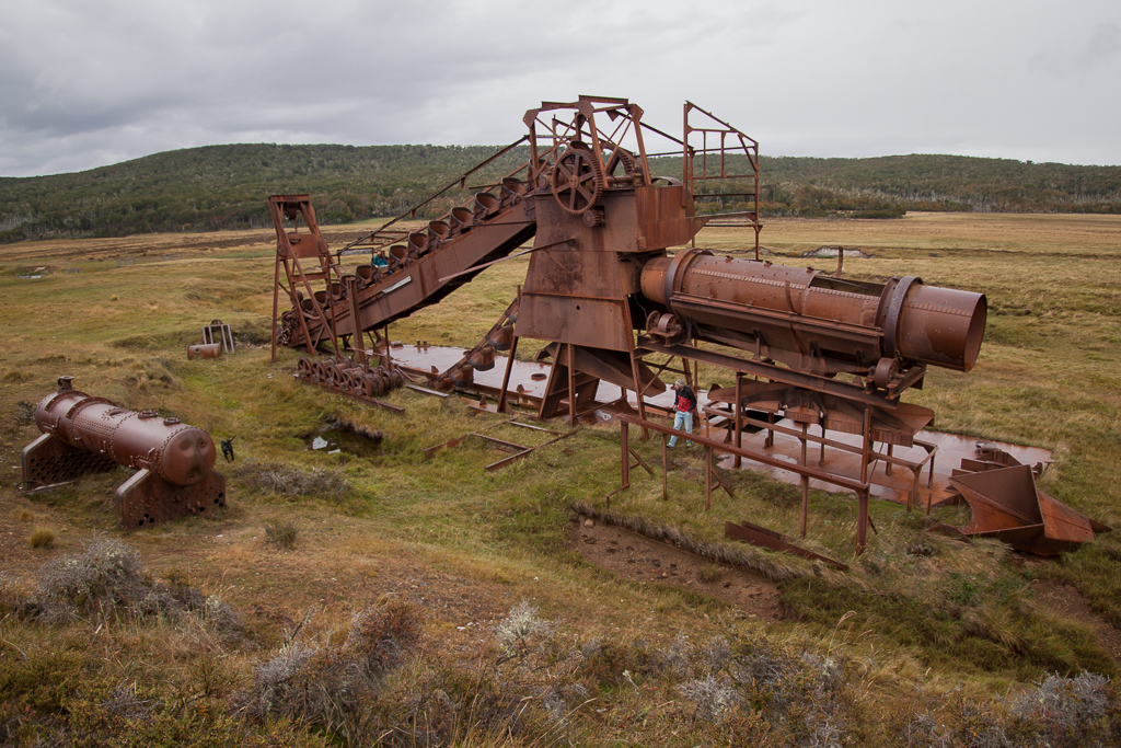 Tierra del Fuego is full of history, much of it wild and strange. We randomly came across this huge old gold mining contraption just rusting away on the side of the road.