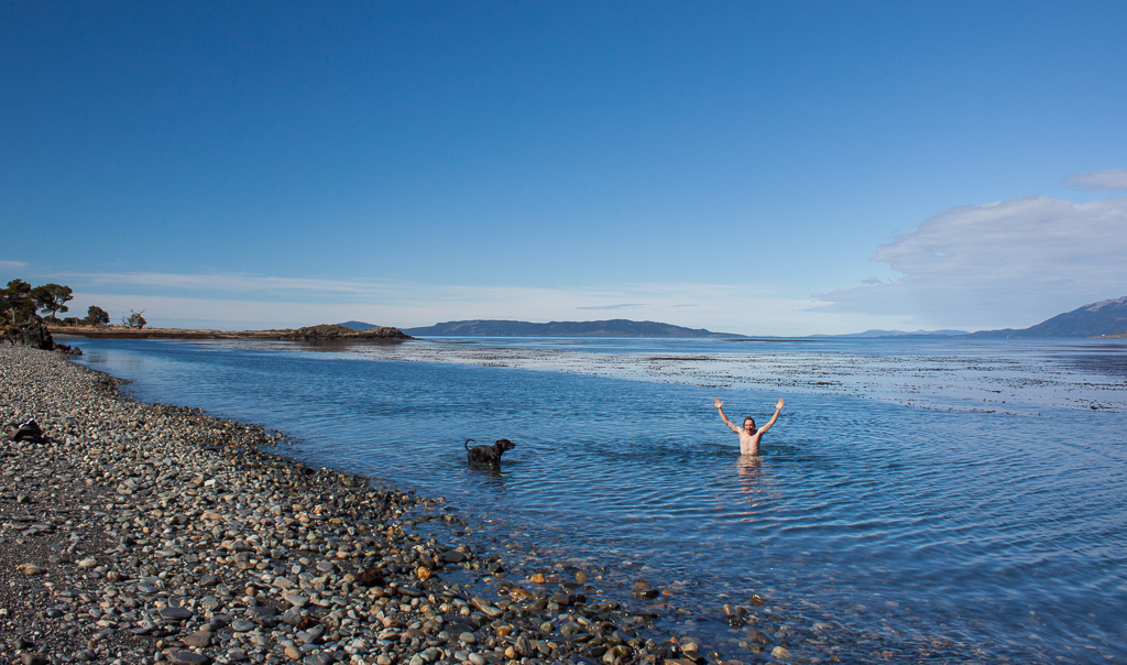 TIm just had to feel the cold waters of the southern ocean.