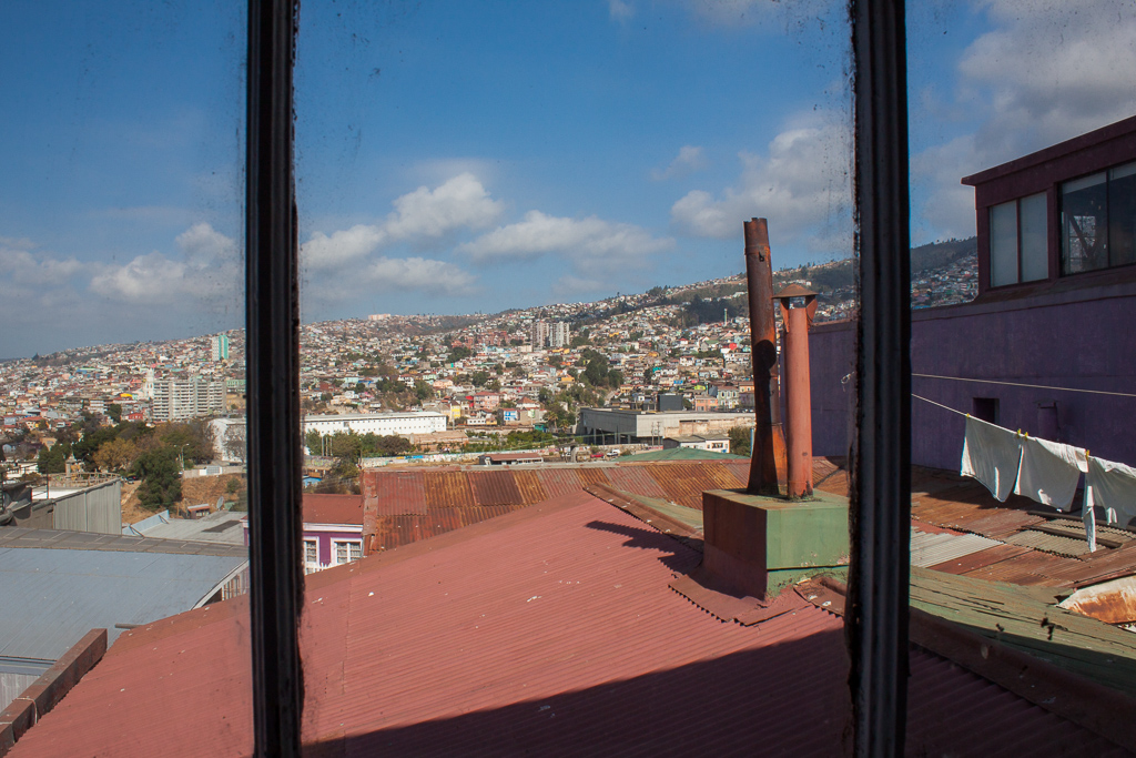 The view from our Valparaiso apartment bathroom window.