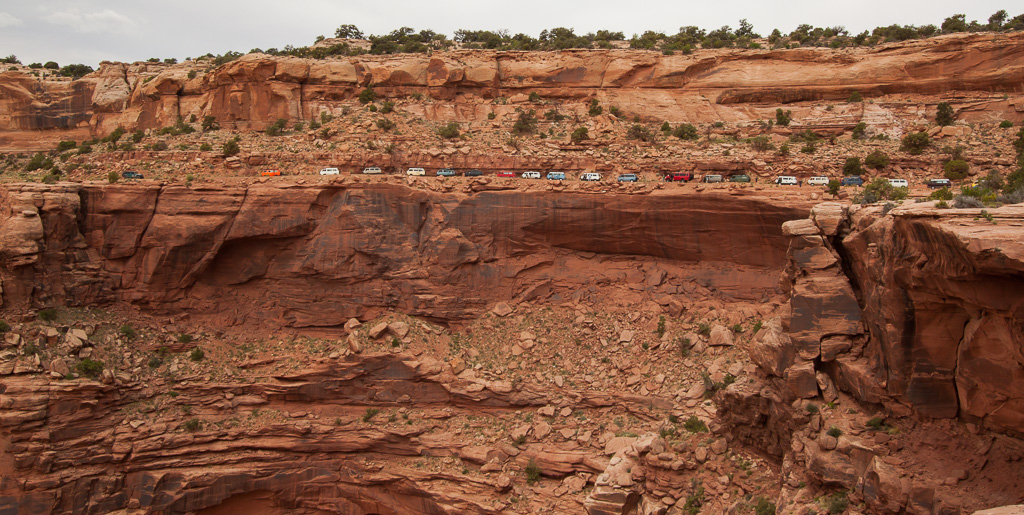 Vans lined up and ready along Shafer Trail.