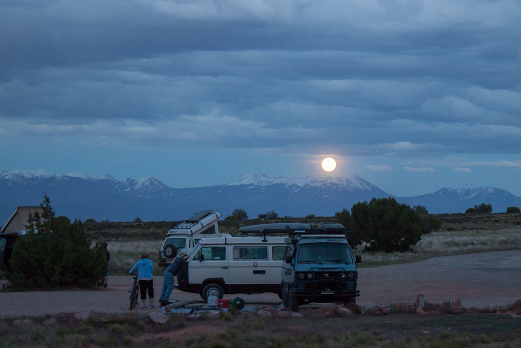 Full moon rising over La Sals.