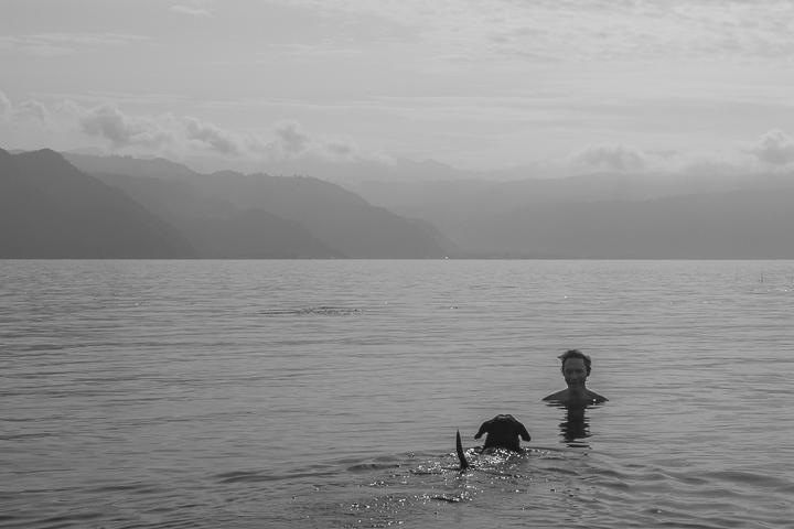 Swimming with Tim in Lago Atitlan, Guatemala